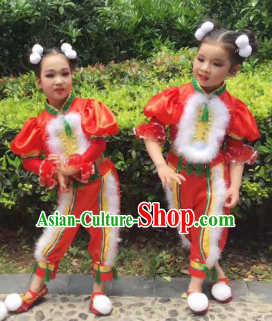Traditional Chinese Folk Dance Spring Festival Fan Dance Red Clothing Yangko Dance Stage Show Costume for Kids
