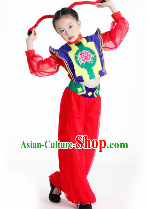 Traditional Chinese Folk Dance New Year Fan Dance Red Clothing Yangko Dance Stage Show Costume for Kids
