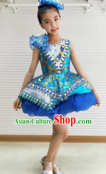 Traditional Chinese Children Opening Dance Royalblue Short Dress Stage Show Costume for Kids