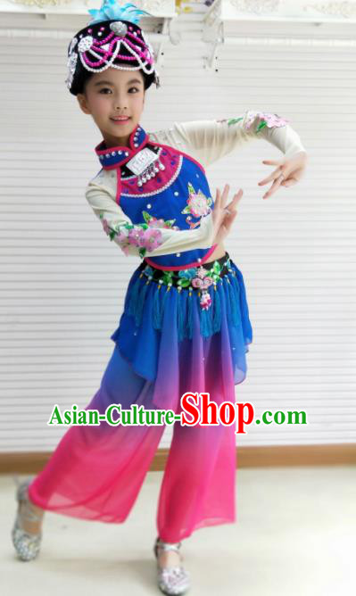 Traditional Chinese Folk Dance Spring Festival Fan Dance Blue Outfits Yangko Dance Stage Show Costume for Kids