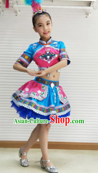 Traditional Chinese Child Yi Nationality Blue Skirt Ethnic Minority Folk Dance Costume for Kids