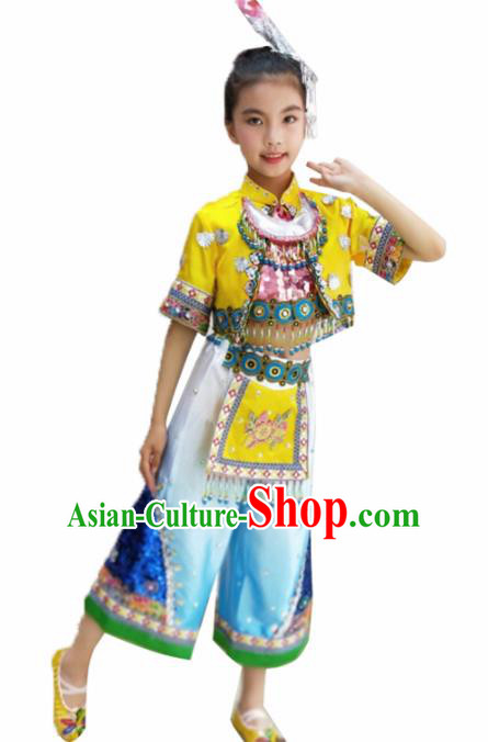 Traditional Chinese Folk Dance Yellow Outfits Spring Festival Fan Dance Yangko Dance Stage Show Costume for Kids
