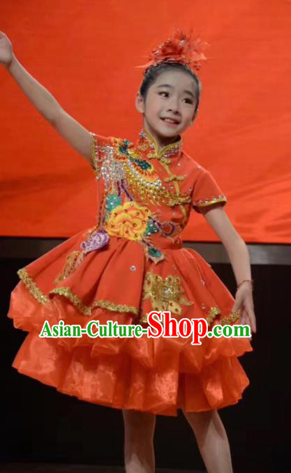 Traditional Chinese Children Classical Dance Orange Dress Stage Show Costume for Kids