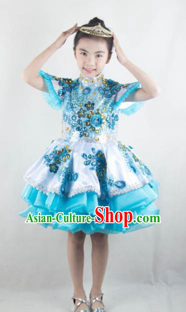 Traditional Chinese Children Classical Dance Blue Short Dress Stage Show Costume for Kids