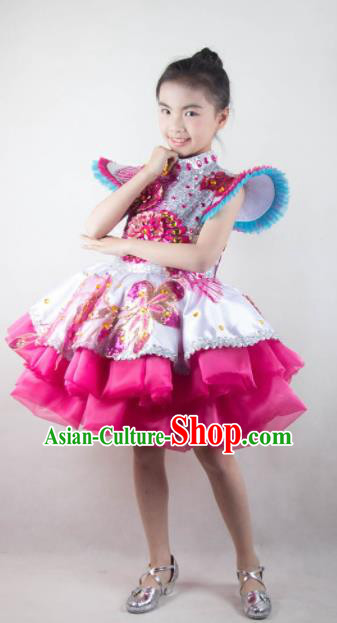 Traditional Chinese Children Classical Dance Rosy Short Dress Stage Show Costume for Kids