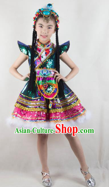 Traditional Chinese Zang Nationality Child Dress Ethnic Minority Folk Dance Costume for Kids