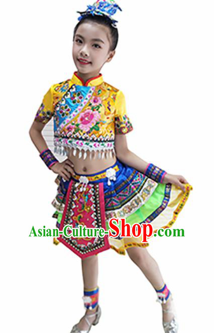 Traditional Chinese Tujia Nationality Child Yellow Dress Ethnic Minority Folk Dance Costume for Kids