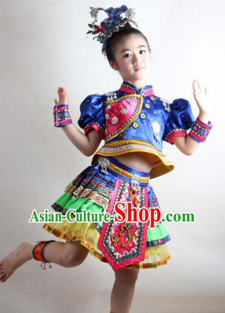 Traditional Chinese Tujia Nationality Child Royalblue Dress Ethnic Minority Folk Dance Costume for Kids