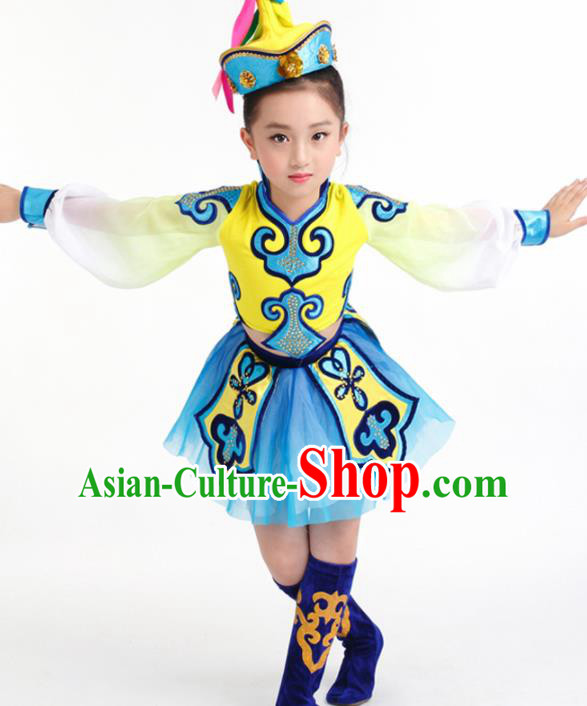 Traditional Chinese Child Mongol Nationality Blue Skirt Ethnic Minority Folk Dance Costume for Kids