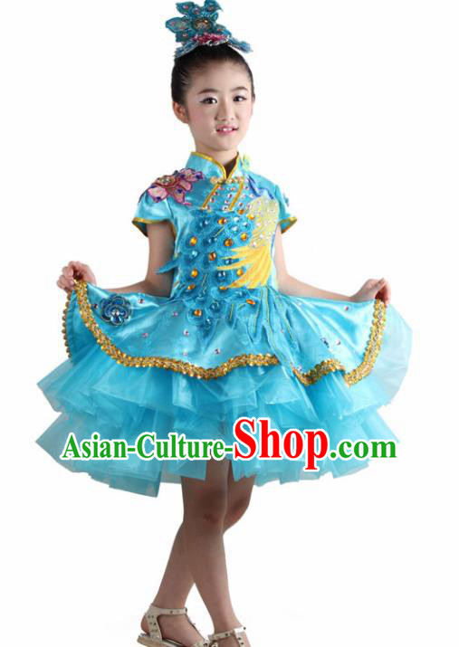 Traditional Chinese Children Classical Dance Blue Veil Dress Stage Show Costume for Kids