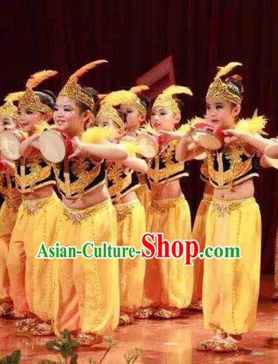 Traditional Chinese Xinjiang Uyghur Nationality Child Yellow Dress Ethnic Minority Folk Dance Costume for Kids