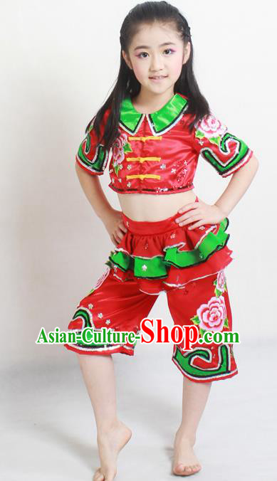 Traditional Chinese Folk Dance Red Satin Outfits Spring Festival Fan Dance Yangko Dance Stage Show Costume for Kids