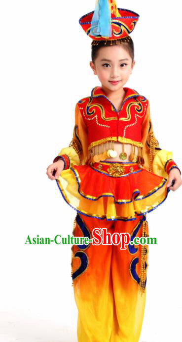 Traditional Chinese Child Mongol Nationality Red Skirt Ethnic Minority Folk Dance Costume for Kids