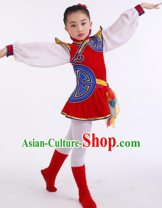 Traditional Chinese Child Mongol Nationality Red Dress Ethnic Minority Folk Dance Costume for Kids