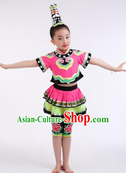 Traditional Chinese Child Tujia Nationality Pink Dress Ethnic Minority Folk Dance Costume for Kids