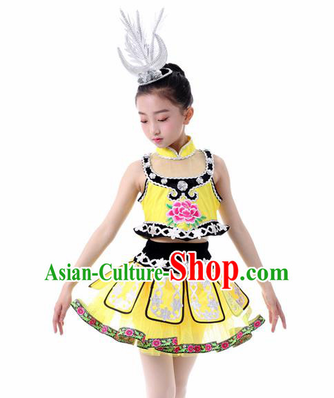Traditional Chinese Child Miao Nationality Yellow Skirt Ethnic Minority Folk Dance Costume for Kids
