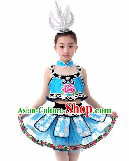 Traditional Chinese Child Miao Nationality Blue Skirt Ethnic Minority Folk Dance Costume for Kids