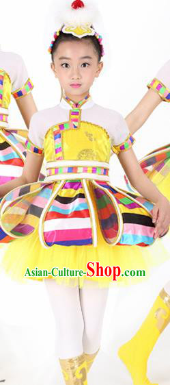Traditional Chinese Child Tibetan Nationality Yellow Dress Ethnic Minority Folk Dance Costume for Kids