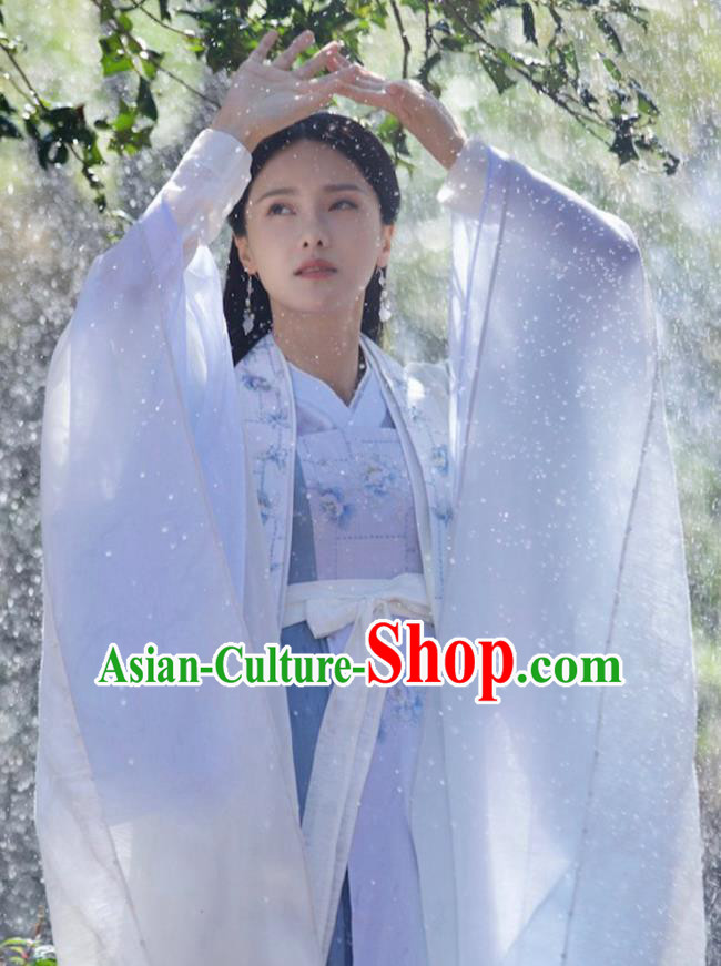 Chinese Ancient Royal Princess Blue Hanfu Dress Drama Love and Destiny Female Swordsman Qing Yao Costumes for Women