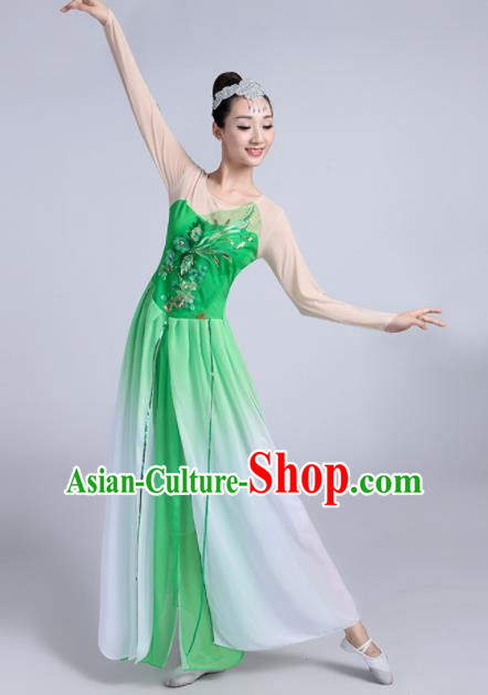 Traditional Chinese Classical Dance Lotus Dance Green Dress Stage Show Costume for Women