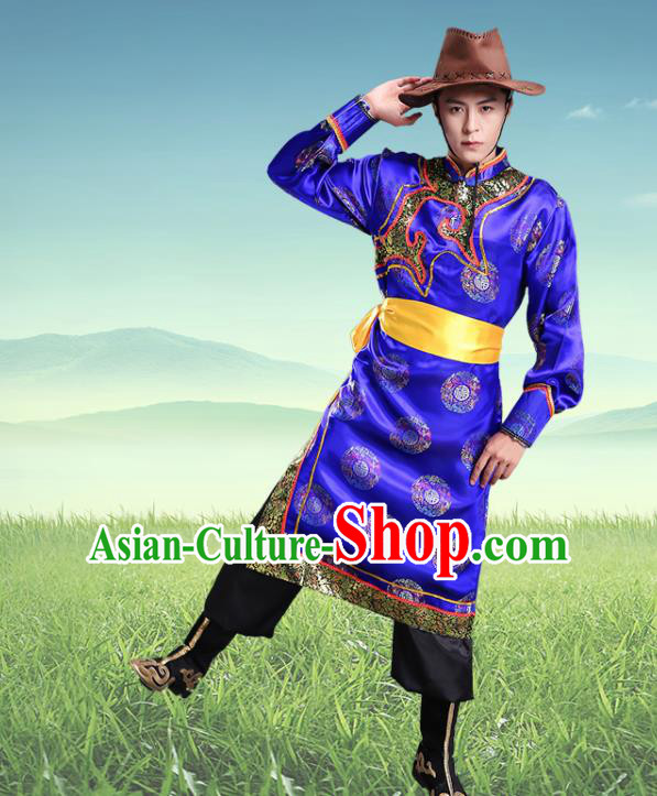 Traditional Chinese Mongol Nationality Royalblue Clothing Ethnic Minority Folk Dance Costume for Men