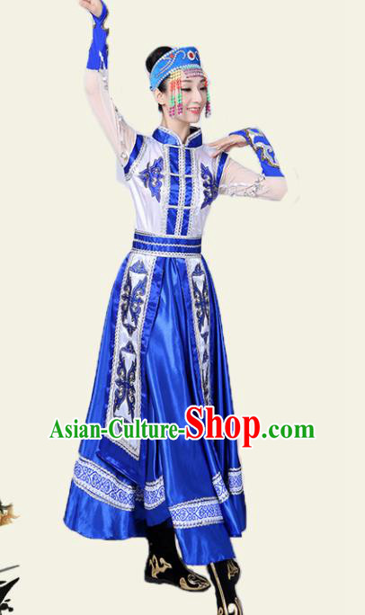 Traditional Chinese Mongol Nationality Deep Blue Dress Ethnic Minority Folk Dance Costume for Women