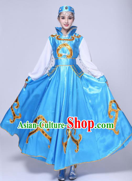 Traditional Chinese Mongol Nationality Princess Blue Dress Ethnic Minority Folk Dance Costume for Women
