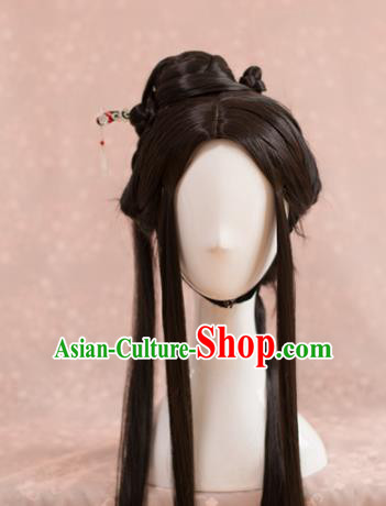 Traditional Chinese Ancient Song Dynasty Wigs Cosplay Female Swordsman Chignon for Women