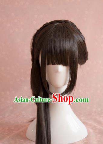 Traditional Chinese Song Dynasty Princess Wigs Cosplay Ancient Female Swordsman Chignon for Women