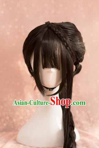 Traditional Chinese Ming Dynasty Princess Wigs Cosplay Ancient Goddess Female Swordsman Chignon for Women