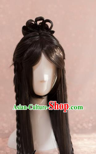 Traditional Chinese Ming Dynasty Taoist Nun Wigs Cosplay Ancient Goddess Female Swordsman Chignon for Women