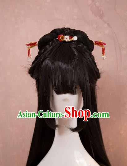 Traditional Chinese Ming Dynasty Young Lady Wigs Cosplay Ancient Goddess Female Swordsman Chignon for Women