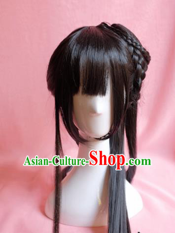 Traditional Chinese Han Dynasty Nobility Lady Wigs Sheath Cosplay Ancient Goddess Female Swordsman Chignon for Women