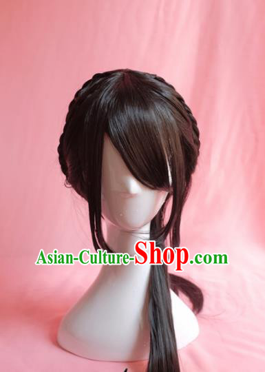 Traditional Chinese Qing Dynasty Nobility Lady Wigs Sheath Cosplay Ancient Goddess Female Swordsman Chignon for Women