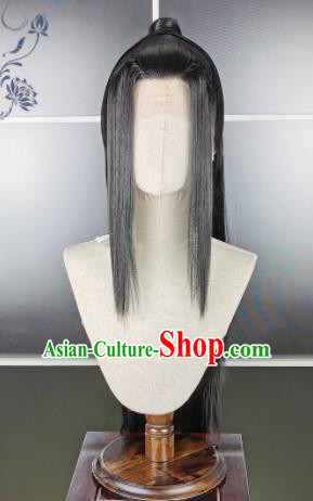 Traditional Chinese Cosplay Young Swordsman Wigs Sheath Ancient Kawaler Chignon for Men