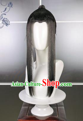 Traditional Chinese Cosplay Swordsman Black Wigs Sheath Ancient Young Kawaler Chignon for Men