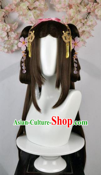 Traditional Chinese Cosplay Goddess Female Swordsman Brown Wigs Sheath Ancient Princess Chignon and Hair Accessories for Women