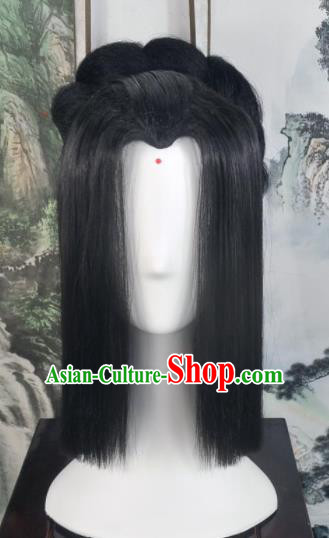 Traditional Chinese Cosplay Goddess Female Swordsman Black Wigs Sheath Ancient Princess Chignon for Women