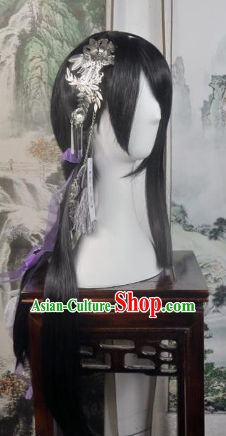 Traditional Chinese Cosplay Flowers Fairy Brown Wigs Sheath Ancient Female Swordsman Princess Chignon for Women