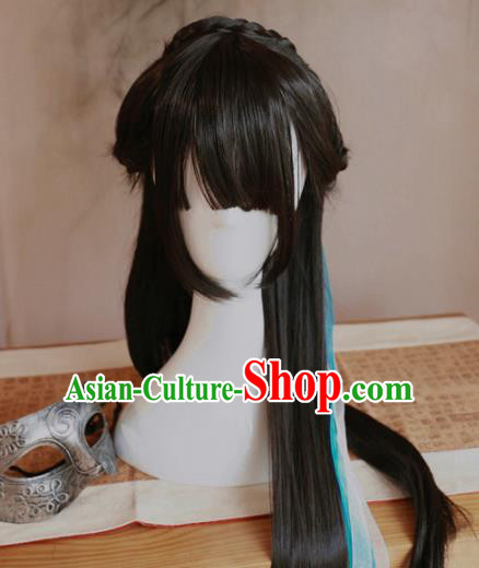 Traditional Chinese Ming Dynasty Wigs Cosplay Ancient Goddess Female Swordsman Chignon for Women
