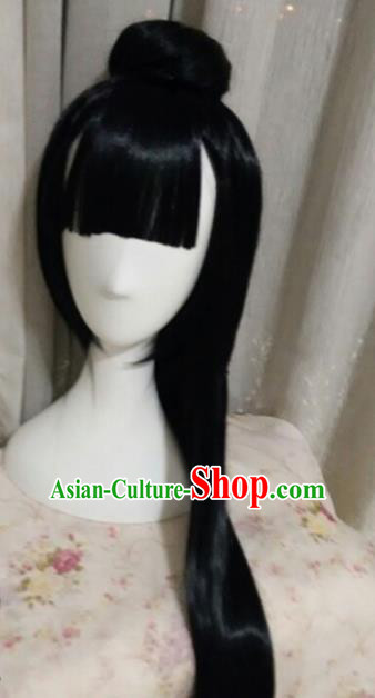 Traditional Chinese Cosplay Princess Jun Fu Black Long Wigs Sheath Ancient Female Swordsman Chignon for Women
