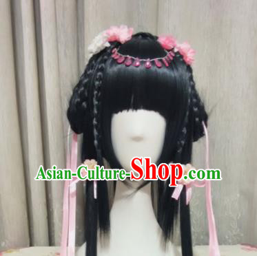 Traditional Chinese Cosplay Fairy Princess Long Wigs Sheath Ancient Female Swordsman Chignon for Women