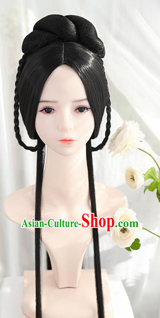 Traditional Chinese Cosplay Ming Dynasty Nobility Lady Wigs Sheath Ancient Female Swordsman Chignon for Women