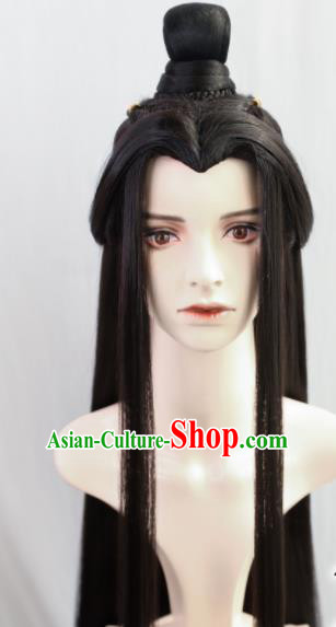 Traditional Chinese Cosplay Crown Prince Wigs Sheath Ancient Nobility Childe Swordsman Chignon for Men