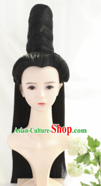 Traditional Chinese Cosplay Ming Dynasty Queen Wigs Sheath Ancient Goddess Mazu Nobility Lady Chignon for Women