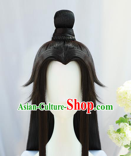 Traditional Chinese Cosplay Taoist Priest Lan Wangji Wigs Sheath Ancient Young Swordsman Chignon for Men
