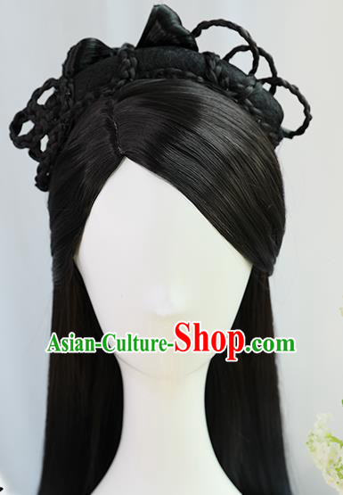 Traditional Chinese Cosplay Wei Dynasty Nobility Lady Wigs Sheath Ancient Princess Chignon for Women