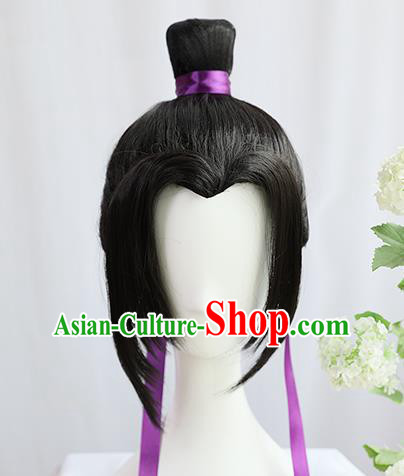 Traditional Chinese Cosplay Taoist Priest Jiang Cheng Wigs Sheath Ancient Young Swordsman Chignon for Men