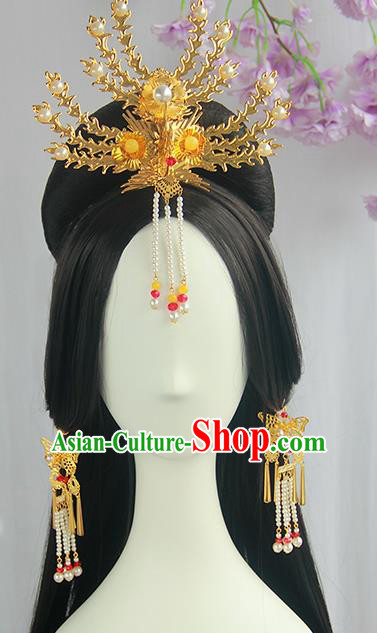 Traditional Chinese Cosplay Tang Dynasty Palace Queen Wigs Sheath Ancient Flying Apsaras Chignon for Women