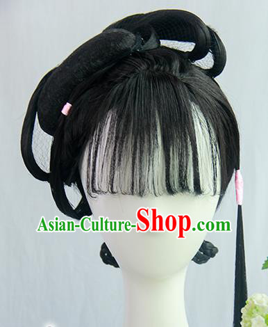 Traditional Chinese Cosplay Ming Dynasty Nobility Lady Lin Daiyu Wigs Sheath Ancient Flying Apsaras Chignon for Women